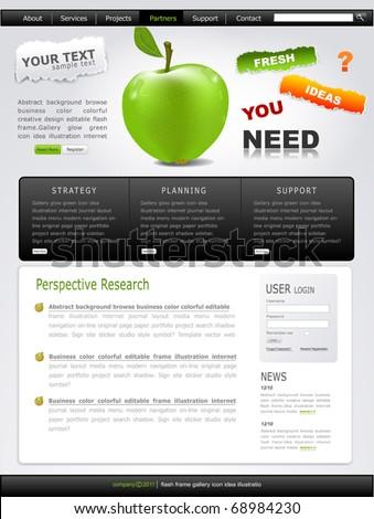 Vector Grey-green website with apple - stock vector