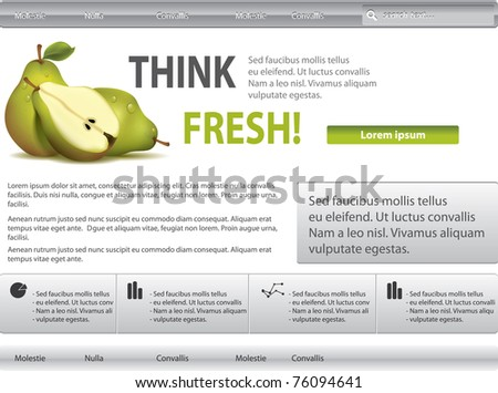Vector grey-green website with pear - stock vector