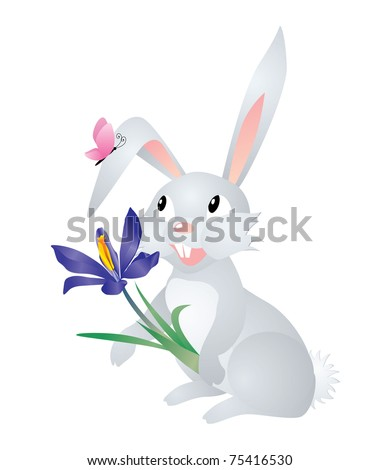vector grey hare with flower