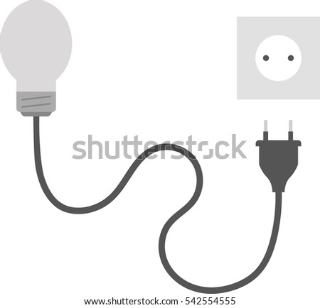 Vector Grey Light Bulb Wire Electrical Stock Vector 542554555 ...