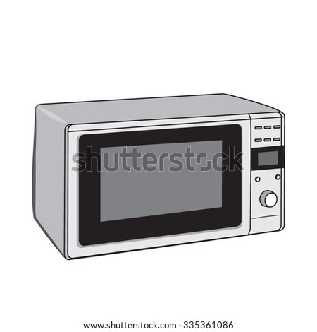Vector. Grey microwave oven on a white background. Household appliance for heating food.Vector. Grey microwave oven on a white background. Heating and cooking. Modern instruments.  cartoon style.  - stock vector