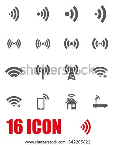 Vector grey wireless icon set. Wireless Icon Object, Wireless  Icon Picture, Wireless Icon Image - stock vector - stock vector