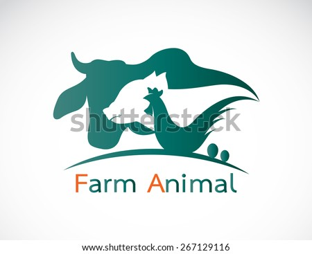 Vector group of animal farm label - cow,pig,chicken,egg - stock vector