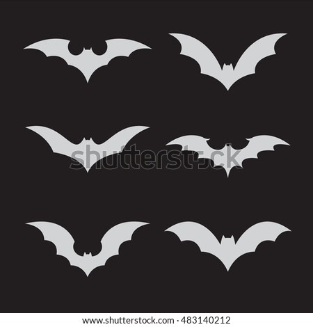 Vector group of bat on black background.