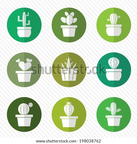 Vector group of cactus in the circle on white background - stock vector