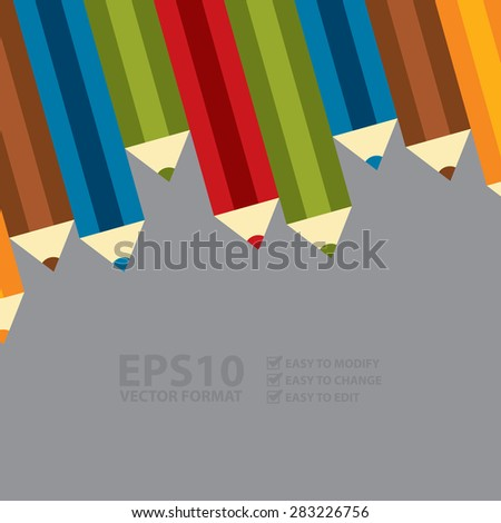 Vector : Group of Colourful Crayon, Colored Pencils, Colored Drawing Pencils in a Variety of Colors - stock vector