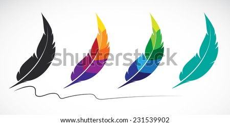 Vector group of feathers on white background - stock vector