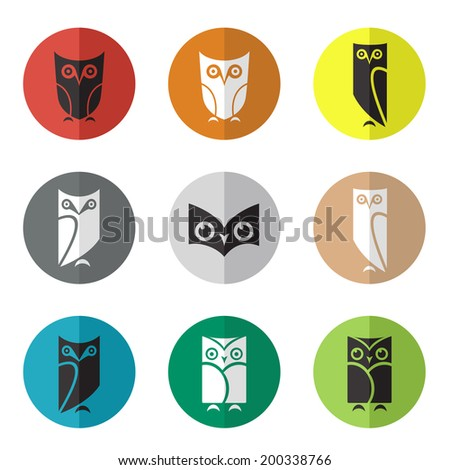 Vector group of owl in the circle on white background - stock vector