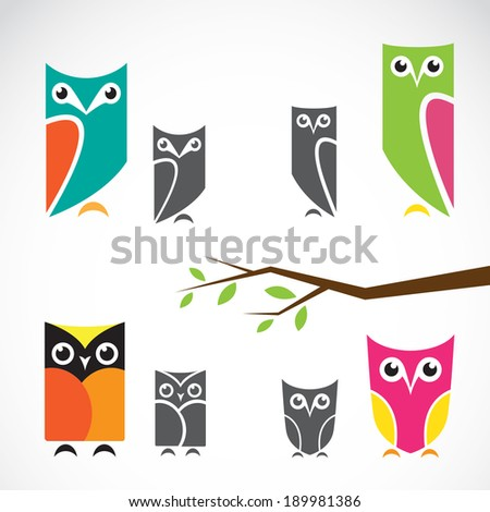 Vector group of owls and branch on white background - stock vector