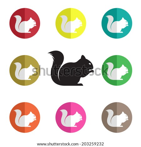 Vector group of squirrel on white background - stock vector