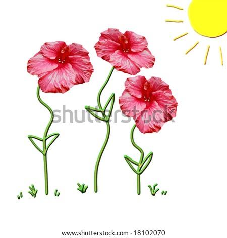 Vector Growing Flowers Concept - stock vector