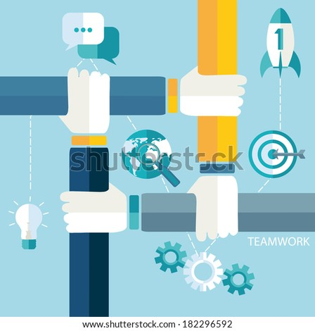 Vector growth and start up concepts in flat style.  - stock vector