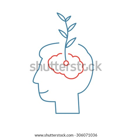Vector growth mindset skills icon growing plant from the brain | modern flat design soft skills linear illustration and infographic red and blue on white background - stock vector