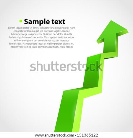 Vector growth progress arrow. Green - stock vector