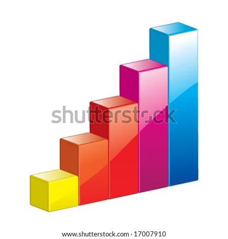 Vector Growth & Progress Bar Chart (3D Glossy Icon or Symbol) - stock vector