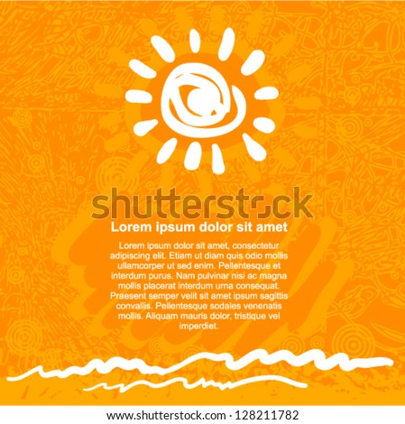 Vector grunge art - orange background with sun and wave - stock vector