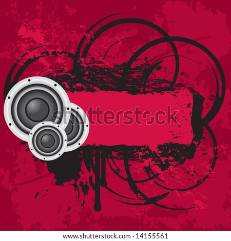 Vector grunge audio page layout with distressing and ink splatters - stock vector