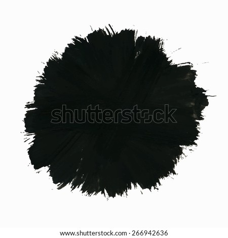 Vector grunge background, artistic painted round banner from solid  brush strokes for your text. Can be used as distress texture  template, label, badge or frame, isolated, black on white - stock vector