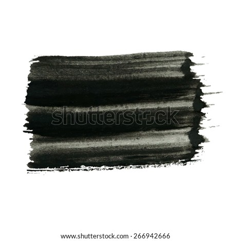 Vector grunge background, black artistic rectangular banner painted with brush strokes for your text. Can be used as distress texture  template, label, badge or frame, isolated, black on white - stock vector