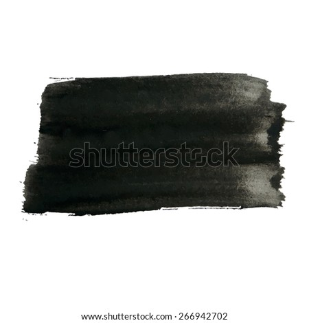 Vector grunge background, natural artistic rectangular banner painted with brush strokes for your text. Can be used as distress texture  template, label, badge or frame, isolated, black on white - stock vector