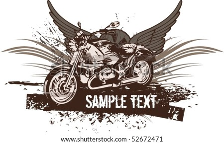 vector Silhouette of classic motorcycle with fire wings ...