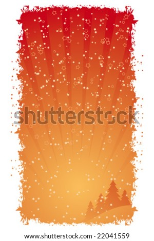 Vector Grunge Background with Christmas tree balls and decoration