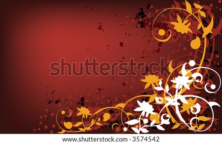 Vector grunge background with floral and victorian swirl elements. - stock vector