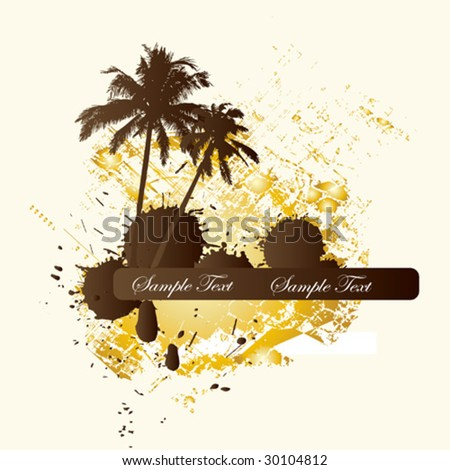 vector grunge background with palm trees