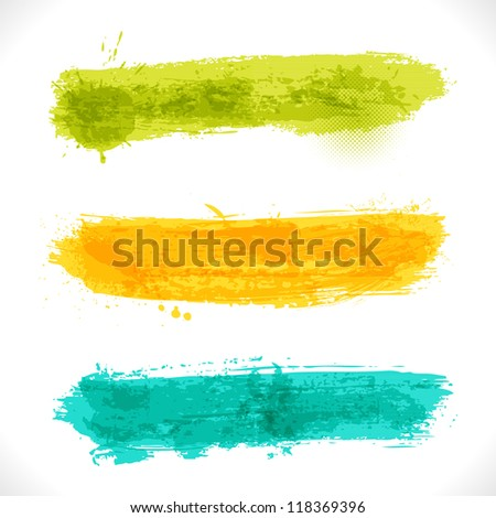 Vector Grunge Banners. Multicolored Art Three Backgrounds. - stock vector