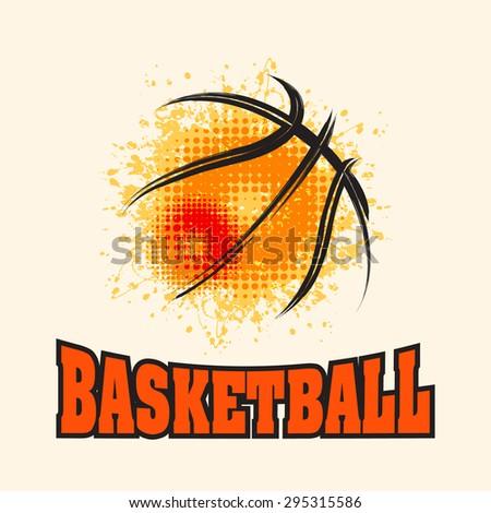 Vector Grunge Basketball ( T-shirt, Poster, Banner, backdrops design )  - stock vector