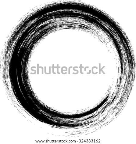 Vector Grunge Brushes Line .Circle Brush Stroke .Vector Logo Design Template . Twirl Grunge Shapes .  - stock vector