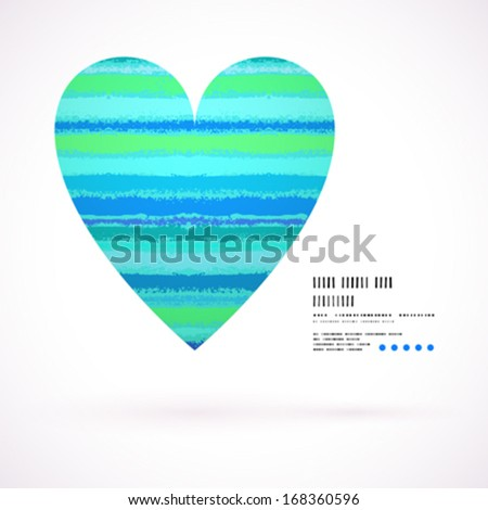 Vector grunge card with hand painted heart shape on striped background in tropical aqua blue. Template for St. Valentines day card, romantic wedding invitation, promotion coupon of gift for two - stock vector