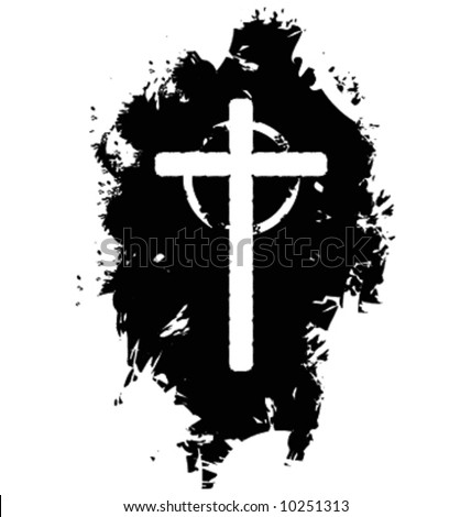 Vector grunge christian cross - stock vector