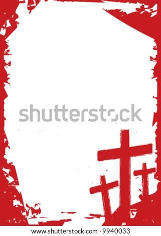 Vector grunge Christian cross background - stock vector