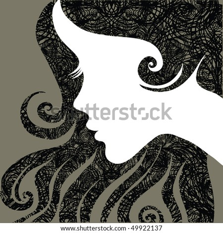 Vector grunge closeup portrait of a girl with beautiful hair - stock vector