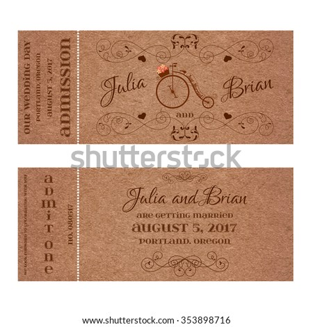 Vector Grunge Double Sided Ticket for Wedding Invitation and Save the Date with retro bicycle and elegant floral curl. Element for wedding designs, website, logo, and other holiday romantic projects. - stock vector