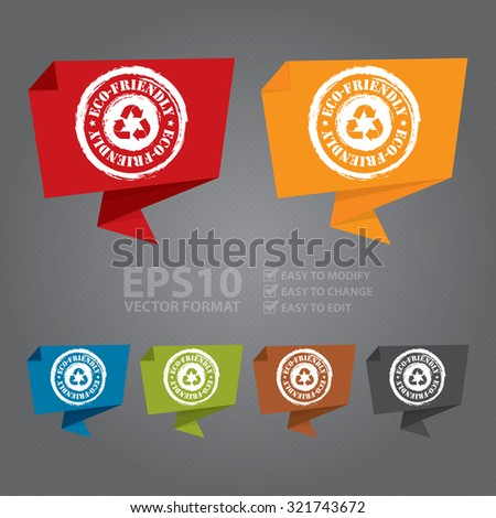 Vector : Grunge Eco-Friendly Paper Origami Speech Bubble or Speech Balloon Infographics Sticker, Label, Sign or Icon - stock vector