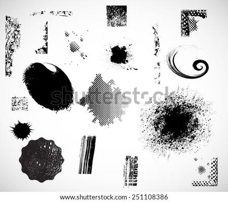 Vector Grunge Elements Set . Halftones , Corners , Splats , Brush Strokes , Textures and Ink Blots for your Design . - stock vector