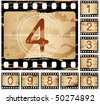 vector grunge film countdown, each frame different - stock photo