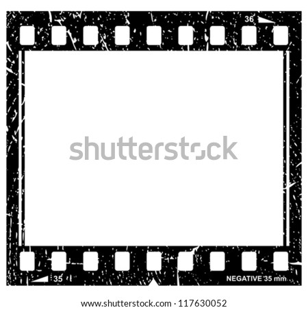 Vector grunge filmstrip icon - stock vector