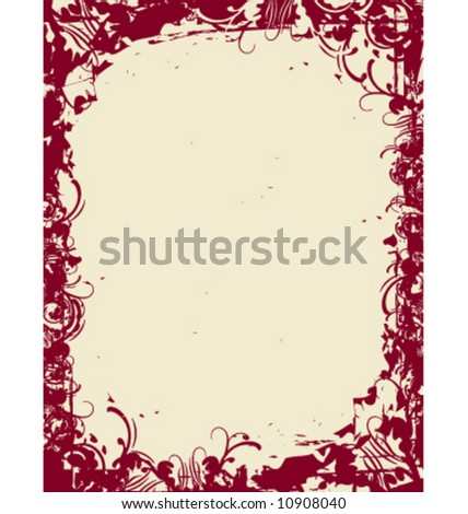 Vector grunge floral border. Two color layered artwork. 8.5x11 size dimension.