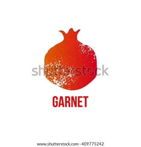Vector grunge garnet icon isolated on white background - stock vector