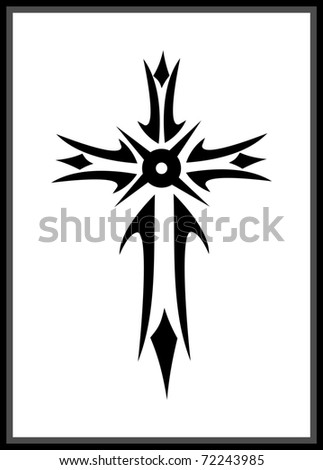 Vector grunge gothic cross - stock vector