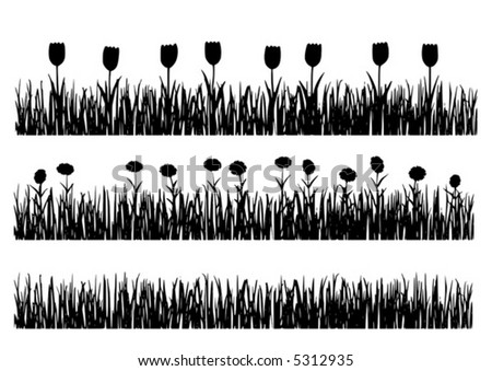 Vector grunge grass with and without flowers. - stock vector
