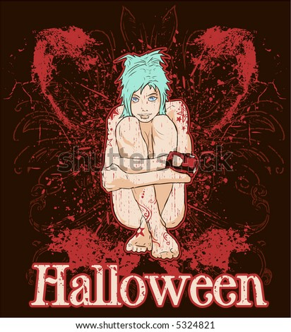 Vector grunge halloween girl - stock vector