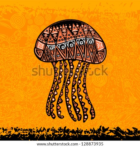 Vector grunge hand-drawn art - jellyfish