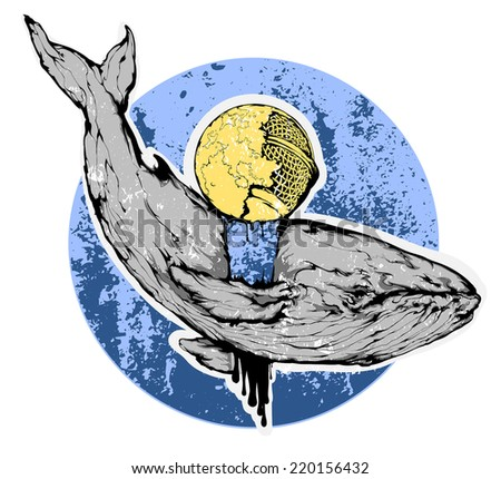 Vector grunge illustration - Whale flying through the sky - stock vector