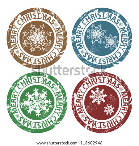 Vector grunge Merry Christmas stamps - stock vector