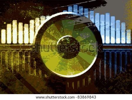 Vector grunge music background - stock vector