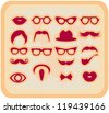Vector grunge Mustaches and other Accessories Vector Set silhouettes red design elements - stock vector